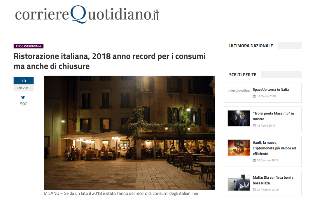 RISTORATORETOP su Corrierequotidiano.it | Ristorazione italiana, 2018 anno record per i consumi ma anche di chiusure