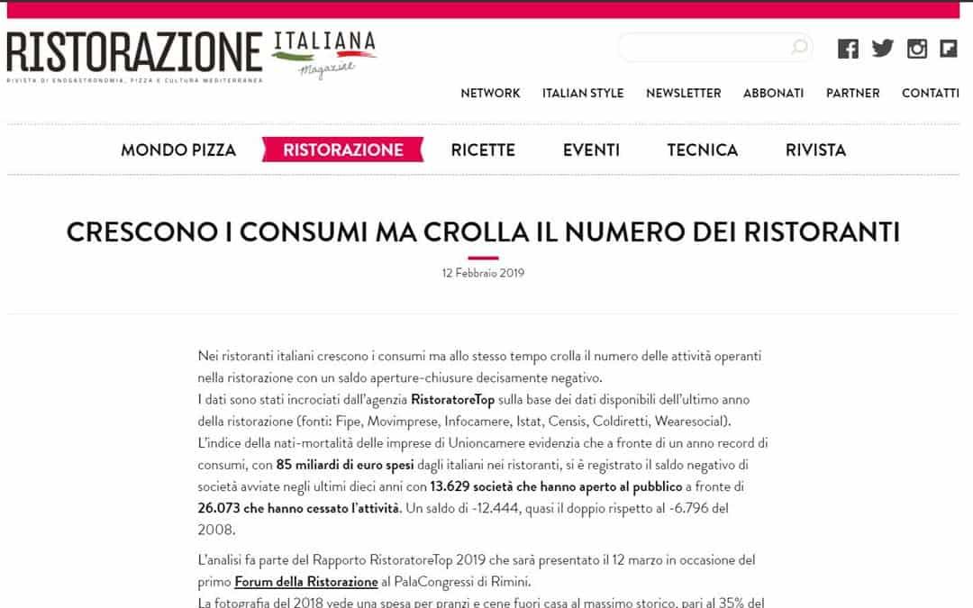 RISTORATORETOP su Ristorazioneitalianamagazine.it | Crescono i consumi ma crolla il numero dei ristoranti