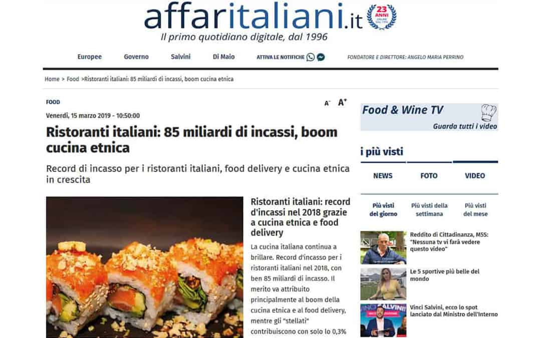 RISTORATORETOP su Affaritaliani | Ristoranti italiani: 85 miliardi di incassi, boom cucina etnica
