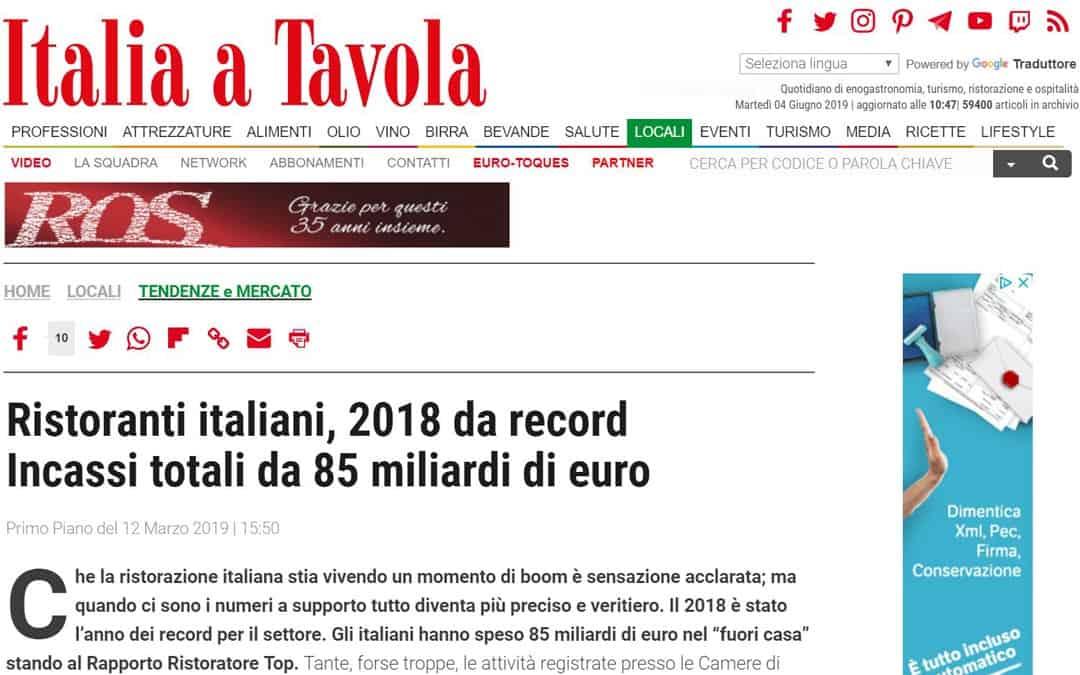 RISTORATORETOP su Italiaatavola.net | Ristoranti italiani, 2018 da record  Incassi totali da 85 miliardi di euro
