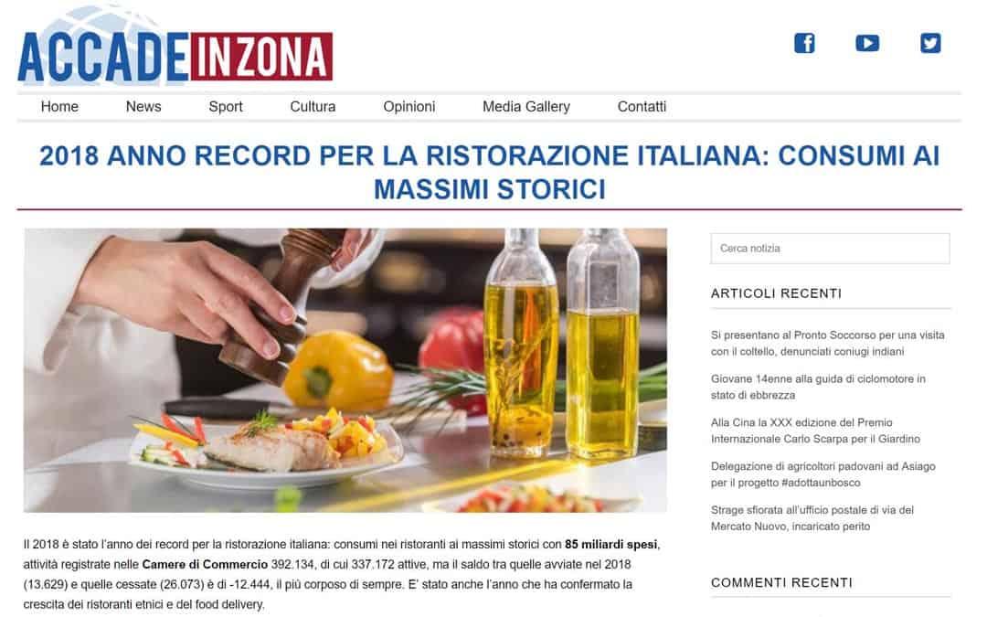 RISTORATORETOP su Accadeinzona.it | 2018 anno record per la ristorazione italiana: consumi ai massimi storici