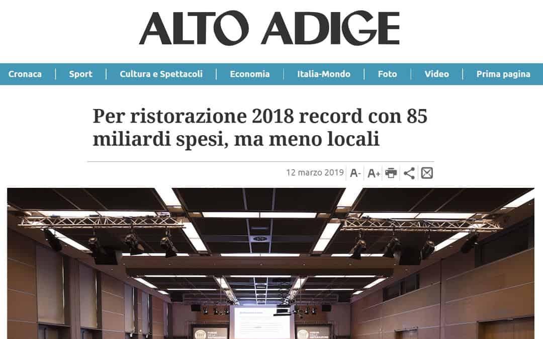 RISTORATORETOP su Altoadige.it | Per ristorazione 2018 record con 85 miliardi spesi, ma meno locali