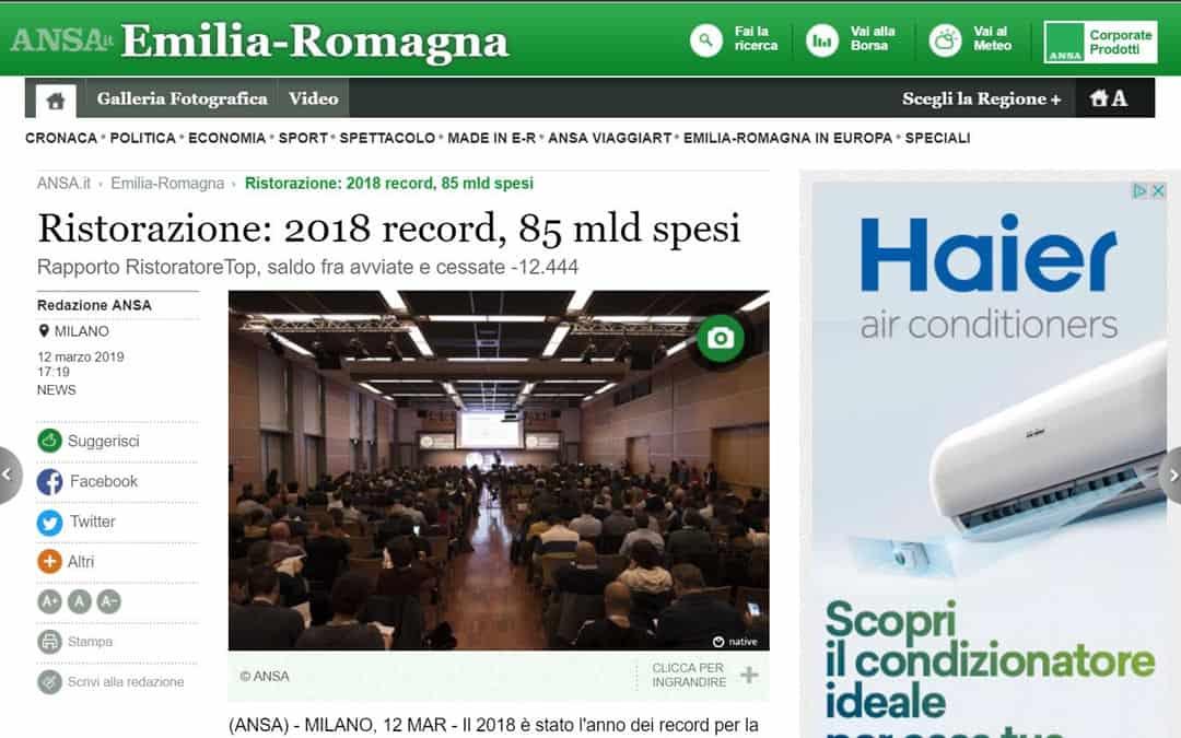 RISTORATORETOP su Ansa.it – Emilia Romagna | Ristorazione: 2018 record, 85 mld spesi