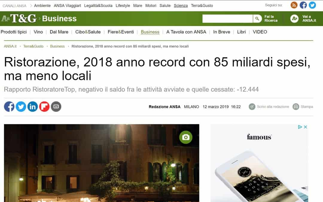 RISTORATORETOP su Ansa.it | Ristorazione, 2018 anno record con 85 miliardi spesi, ma meno locali
