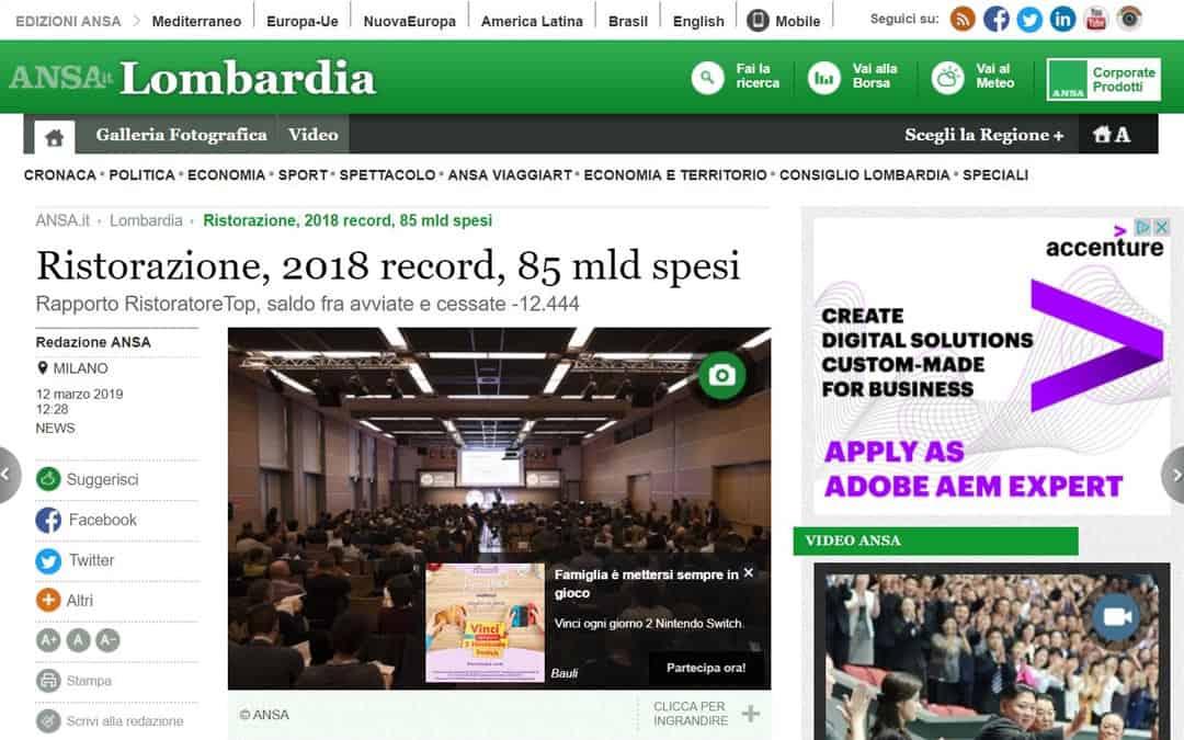 RISTORATORETOP su Ansa.it – Lombardia | Ristorazione: 2018 record, 85 mld spesi