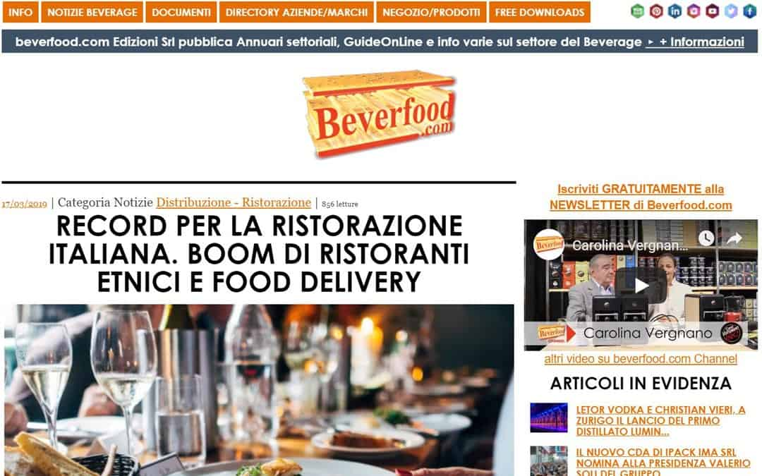 RISTORATORETOP su Beverfood.com | Record per la ristorazione italiana. Boom di ristoranti etnici e food delivery