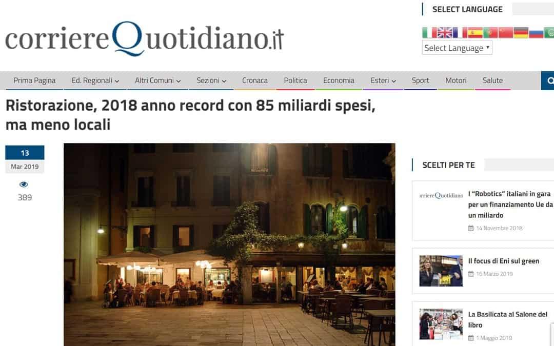 RISTORATORETOP su Corrierequotidiano.it | Ristorazione, 2018 anno record con 85 miliardi spesi, ma meno locali