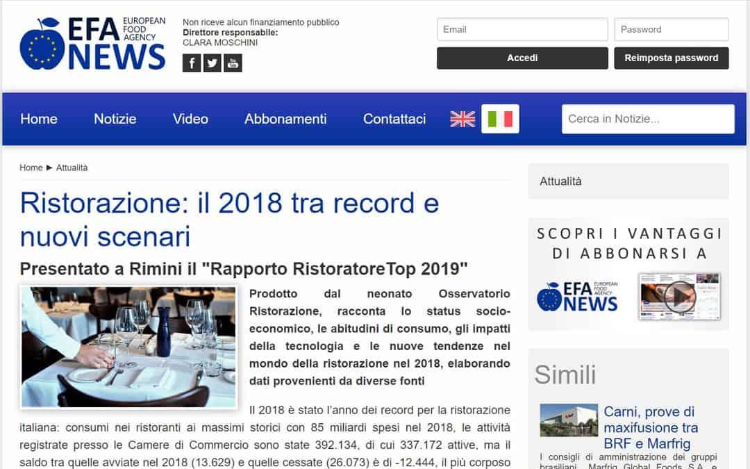 RISTORATORETOP su Efanews.eu | Ristorazione: il 2018 tra record e nuovi scenari
