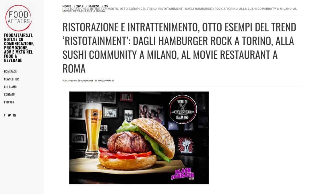 RISTORATORETOP su Foodaffairs.it | Ristorazione e intrattenimento, otto esempi del trend 'ristotainment': dagli hamburger rock a Torino, alla sushi community a Milano, al movie restaurant a Roma
