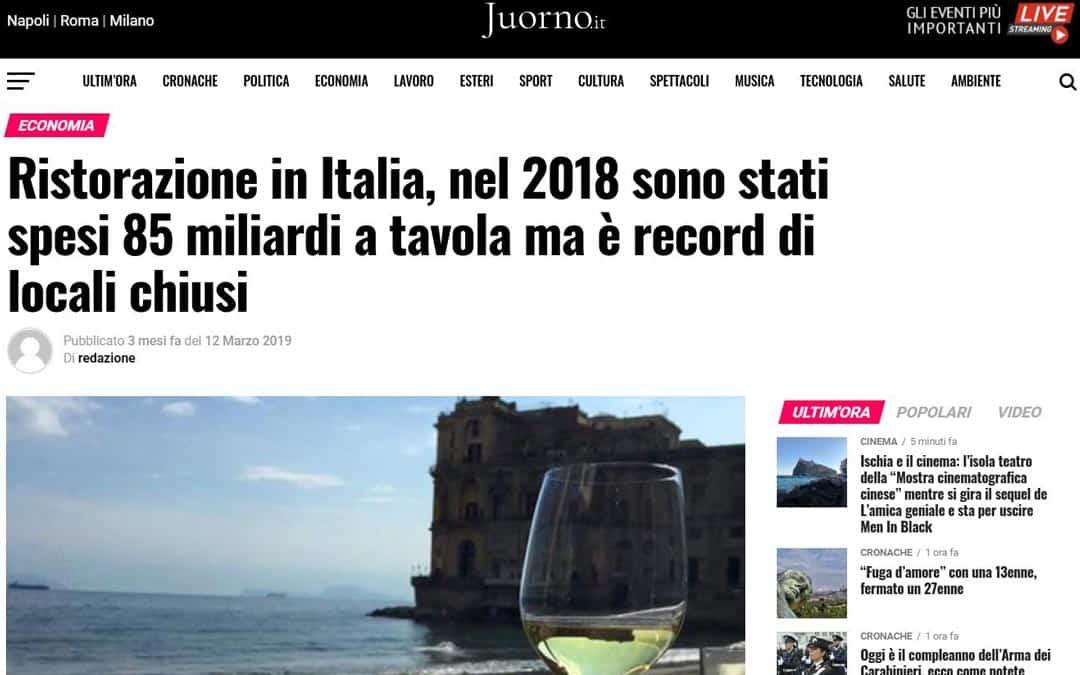 RISTORATORETOP su juorno.it | Ristorazione in Italia, nel 2018 sono stati spesi 85 miliardi a tavola ma è record di locali chiusi